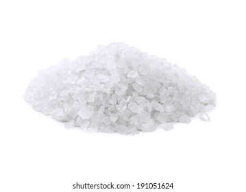 Heap of salt crystals isolated on white
