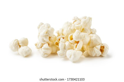 Heap of salted popcorn, isolated on white background