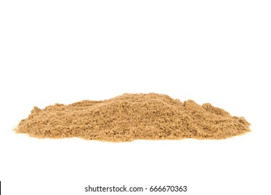 Heap of sand at the beach isolated over white background