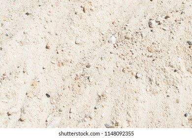 Heap of Sand, Gravel, Pebbles and Concrete Mix for Construction Closeup in Sunny Day. Contrast Photo of Desert Sandy Ground with Small Stones Texture, Background or Pattern