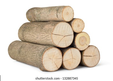 Heap of several logs. Isolated on a white.