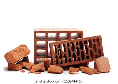 Heap shattered brick isolated on white