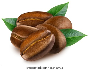 Heap of shiny fresh roasted coffee beans with leaves isolated on a white background.