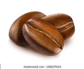Heap of shiny fresh roasted three coffee beans isolated on a white background. Design element for product label, catalog print, web use.