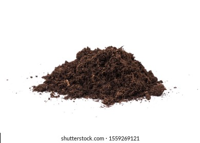 Heap of soil isolated on a white background