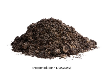 Heap  of soil isolated on white