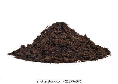 a heap of soil on a white background