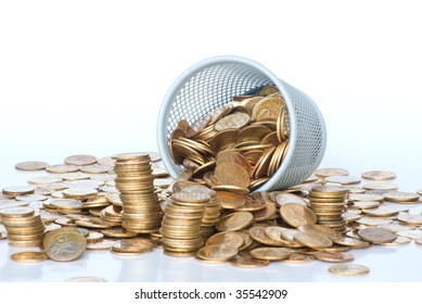 Heap of Soviet Union coins in canister. Isolated on white background.