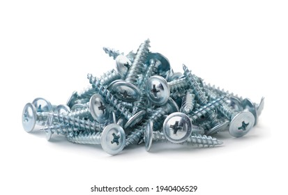 Heap of steel screws for metal close-up on a white background. Isolated