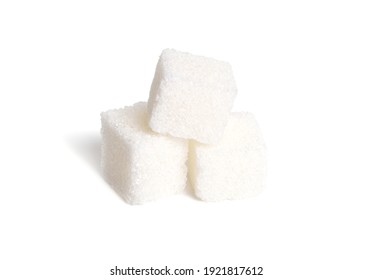 Heap of Sugar cubes isolated on white background. Full dept of field.