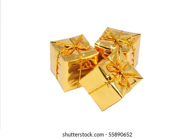heap of three isolated small yellow gifts