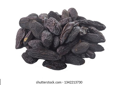heap of tonkin beans isolated on white background. top view