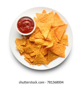 heap of traditional nachos on plate with spicy sause isolated on white background