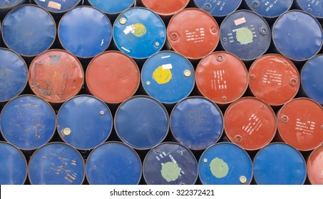 heap of used oil drum and chemical barrel waiting for cleaning, recycle oil drum