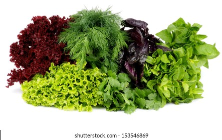 Heap of Various Fresh Greens with Lettuce, Basil, Mint, Dill and Parsley isolated on white background