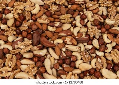 Heap from various kinds of nuts, almond, walnut, hazelnut, cashew, Brazil nut
