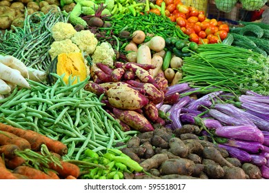 heap of various vegetables on market in asia