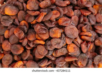 Heap of very dried apricots background