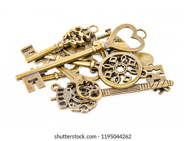 Heap of Vintage Keys Collection Isolated On White Background.