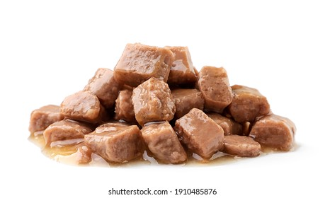 Heap of wet pet food on a white background. Isolated - Shutterstock ID 1910485876