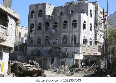 heap of wrecked houses destroyed by war and fierce fighting in al-Jahmaliya neighborhood in the eastof Taiz City, Yemen