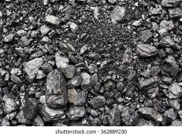 Heaps of mined coal on the surface. Backgrounds and textures