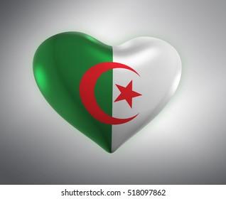 Hear Shape Flag, Algerian Flag (3D Render)