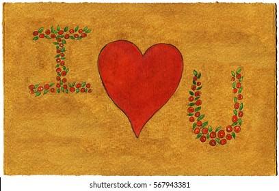 I hear u,  watercolors illustration on a golden background.