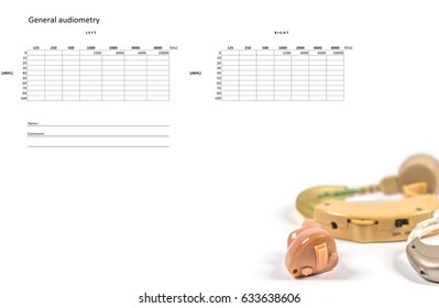 Hearing Aids, and audiograms list for testing