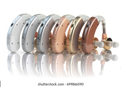 Hearing aids of the different colors isolated on white background. Deaf ear aid. 3d illustration