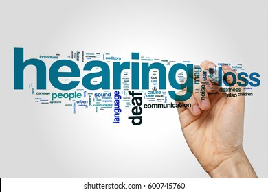 Hearing loss word cloud on grey background