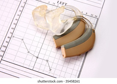 Hearing medical chart showing and hearing aid