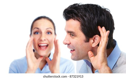 Hearing smiling man. Isolated over white background