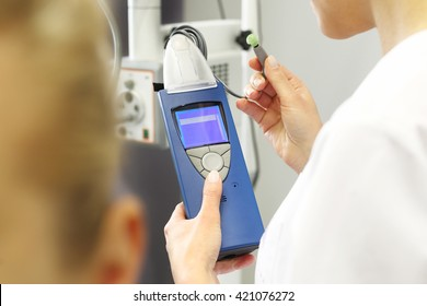 Hearing test. otolaryngologist doctor examining a patient. A patient with throat specialist. Hearing test.