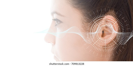 Hearing test showing ear of young woman with sound waves simulation technology