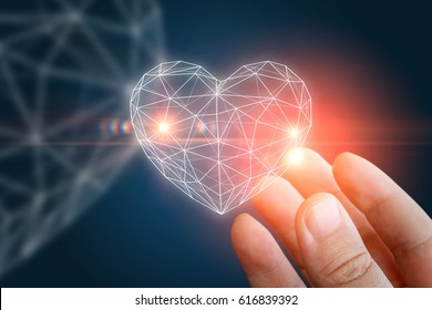 Heart abstract shape in the hand concept design.