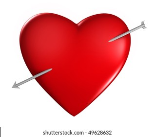 Heart with an arrow on white background