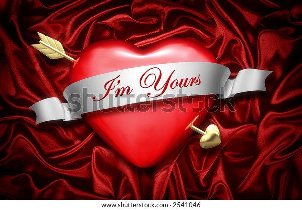 A heart and arrow over a red satin background