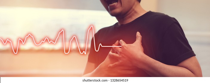Heart Attack Man with Chest Pain Suffering from a Cardiac Illness Need Emergency Help from Professional Rescuer Cover Banner Size