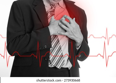 Heart Attack ,Use hand grabbing a chest with white background