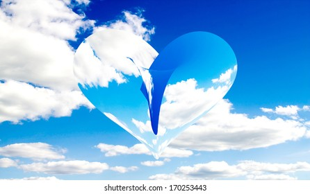 heart background sky clouds abstraction