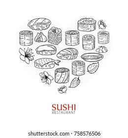 Heart background with sushi and rolls. Japanese traditional cuisine illustration. Raster with love.