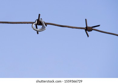 Heart and barbed wire. Love symbol. Symbol of love and metal