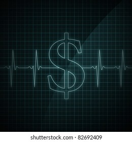 Heart beat monitor showing Dollar symbol. Concept for financial health.