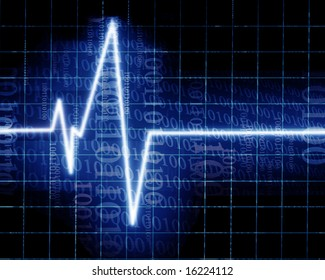 Heart beat on clinic monitor with integrated bits and bytes
