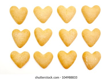 heart biscuits isolated on white background