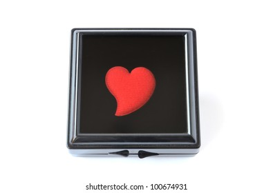 Heart in the black box , meaning of love forever on white background