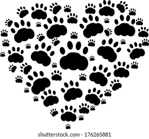 Heart of black cats paws