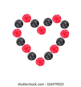 Heart of black and red circles on white background. Watercolor illustration