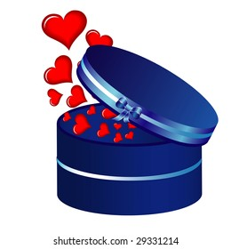 heart and blue box, background